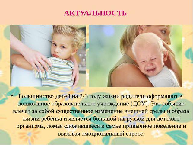 АКТУАЛЬНОСТЬ Большинство детей на 2-3 году жизни родители оформляют в дошколь...