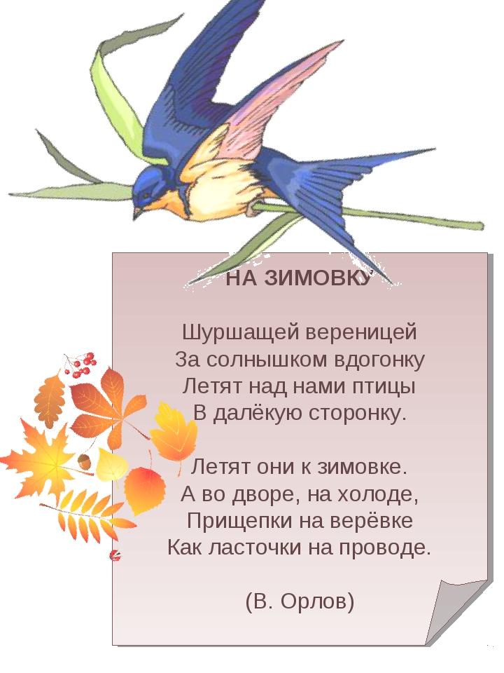 НА ЗИМОВКУ Шуршащей вереницей За солнышком вдогонку Летят над нами птицы В д...