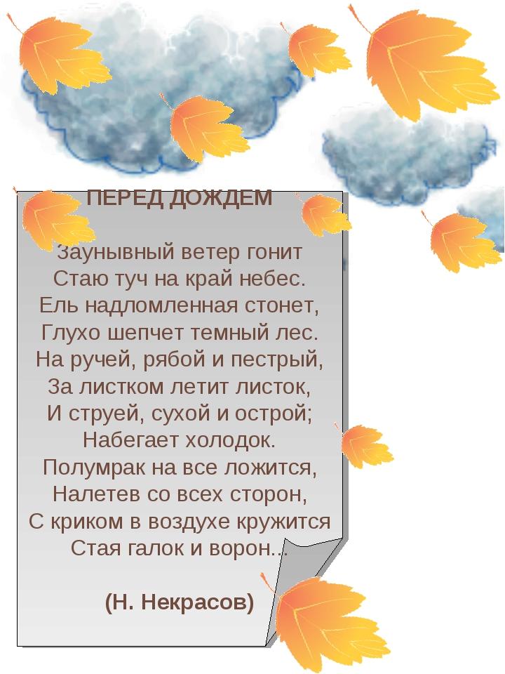 ПЕРЕД ДОЖДЕМ Заунывный ветер гонит Стаю туч на край небес. Ель надломленная...