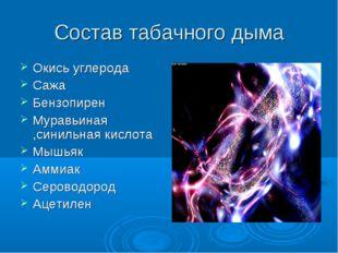 Состав табачного дыма Окись углерода Сажа Бензопирен Муравьиная ,синильная ки