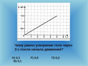 Чему равно ускорение тела через 3 с после начала движения? Н) 0,3 Р) 0,5 П) 0