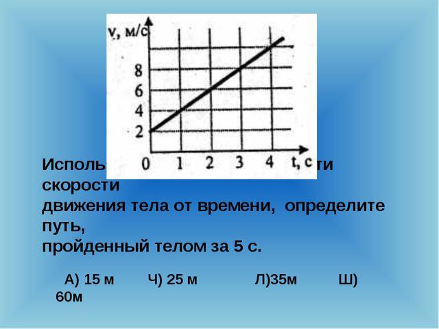 Используя график зависимости скорости движения тела от времени, определите пу...