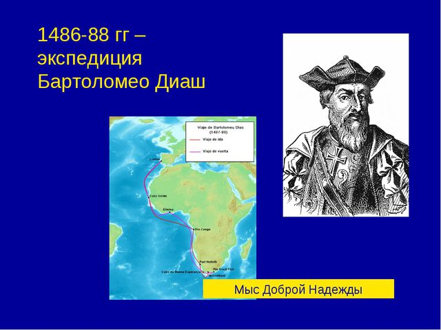 1486-88 гг – экспедиция Бартоломео Диаш Мыс Доброй Надежды