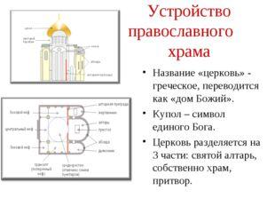 Устройство православного храма Название «церковь» - греческое, переводится ка