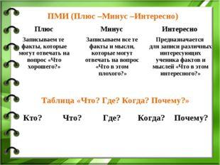 ПМИ (Плюс –Минус –Интересно) Таблица «Что? Где? Когда? Почему?» Плюс Минус