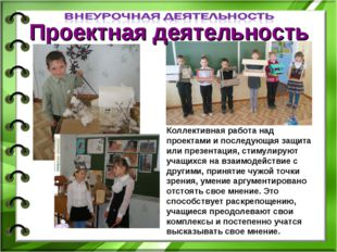 Проектная деятельность Коллективная работа над проектами и последующая защита