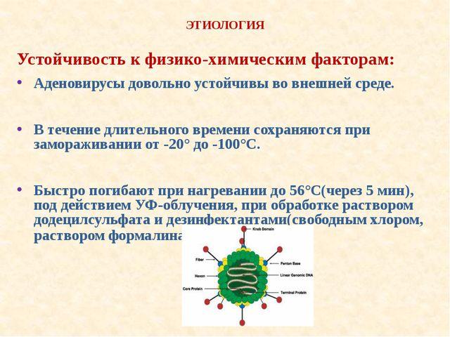 ЭТИОЛОГИЯ Устойчивость к физико-химическим факторам: Аденовирусы довольно ус...