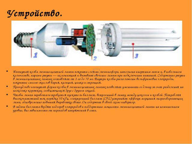 Устройство. Изогнутая колба люминесцентной лампы покрыта слоями люминофора, н...
