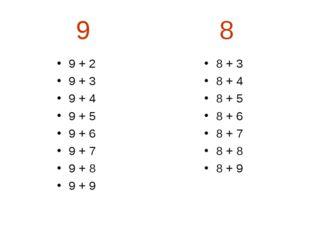9 8 9 + 2 9 + 3 9 + 4 9 + 5 9 + 6 9 + 7 9 + 8 9 + 9 8 + 3 8 + 4 8 + 5 8 + 6