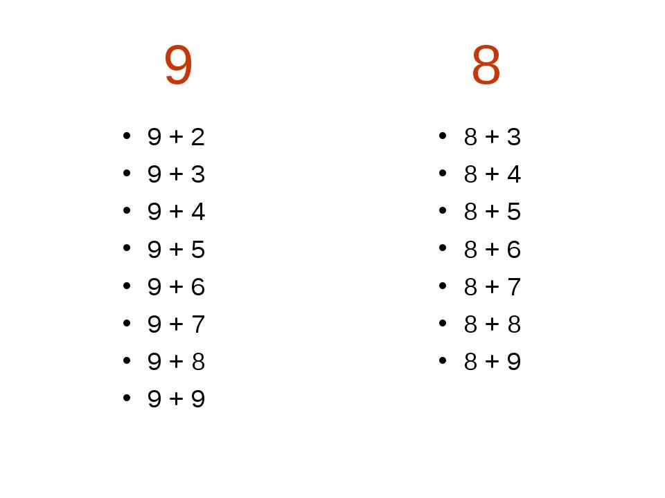 9 8 9 + 2 9 + 3 9 + 4 9 + 5 9 + 6 9 + 7 9 + 8 9 + 9 8 + 3 8 + 4 8 + 5 8 + 6...