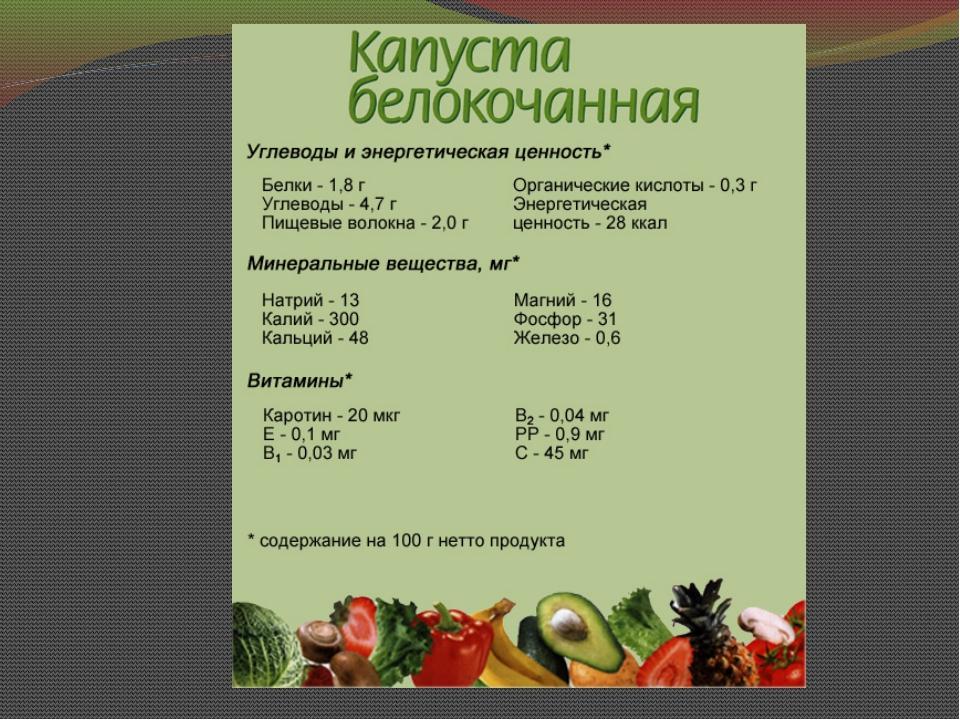 энергетическая ценность капусты белокочанной