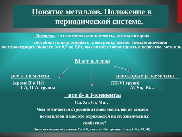 Понятие металлов. Положение в периодической системе. Металлы – это химически...