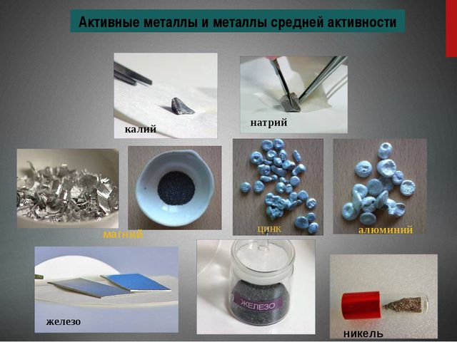 Активные металлы и металлы средней активности магний калий алюминий цинк нат...