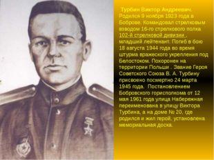 Турбин Виктор Андреевич. Родился 9 ноября 1923 года в Боброве. Командовал ст