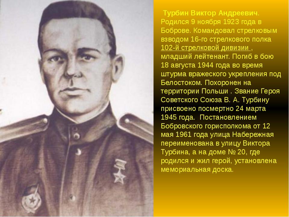 Турбин Виктор Андреевич. Родился 9 ноября 1923 года в Боброве. Командовал ст...