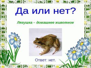Лягушка – домашнее животное Ответ: нет.