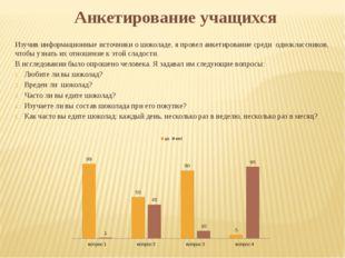 Анкетирование учащихся Изучив информационные источники о шоколаде, я провел а