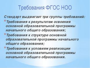 Требования ФГОС НОО Стандарт выдвигает три группы требований: Требования к ре