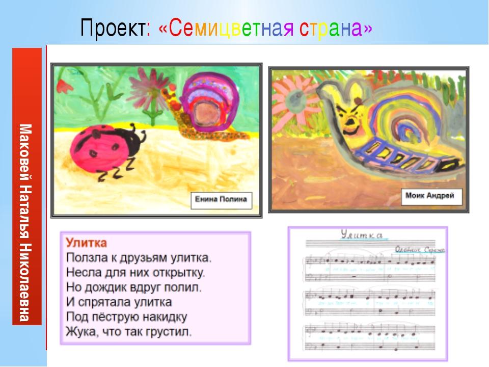 Маковей Наталья Николаевна Проект: «Семицветная страна» Исполнители: ученики...
