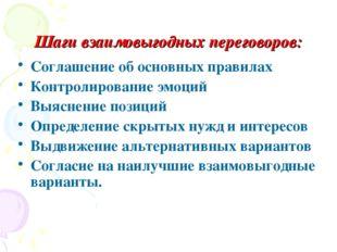 Шаги взаимовыгодных переговоров: Соглашение об основных правилах Контролирова