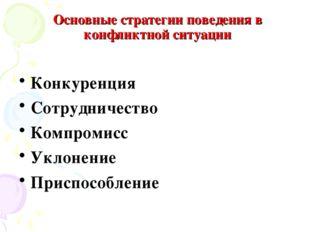 Основные стратегии поведения в конфликтной ситуации Конкуренция Сотрудничеств