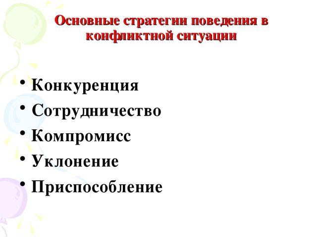 Основные стратегии поведения в конфликтной ситуации Конкуренция Сотрудничеств...