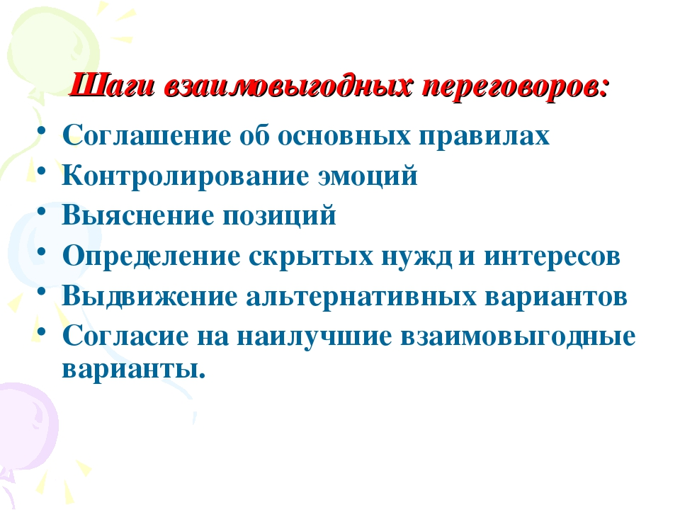 Шаги взаимовыгодных переговоров: Соглашение об основных правилах Контролирова...