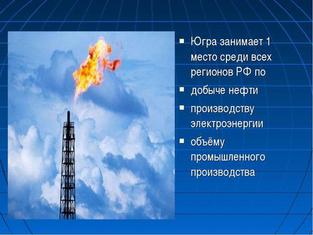 Югра занимает 1 место среди всех регионов РФ по добыче нефти производству эле...