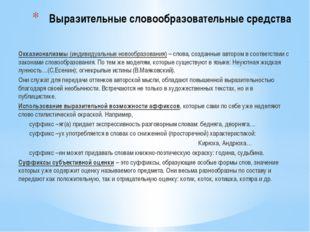Выразительные словообразовательные средства Окказионализмы (индивидуальные но