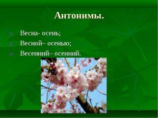 Антонимы. Весна- осень; Весной– осенью; Весенний– осенний.