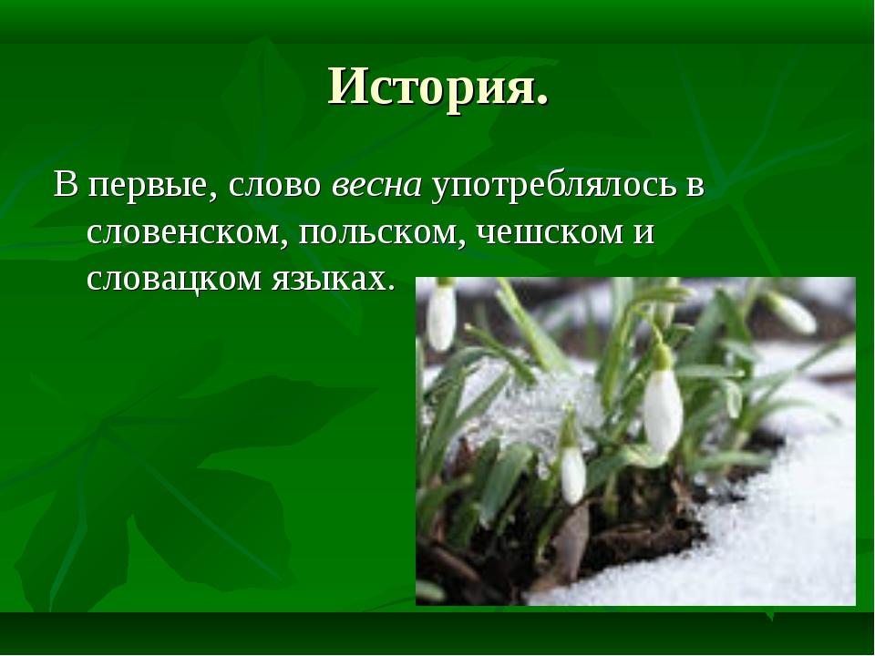 История. В первые, слово весна употреблялось в словенском, польском, чешском...