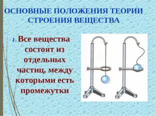ОСНОВНЫЕ ПОЛОЖЕНИЯ ТЕОРИИ СТРОЕНИЯ ВЕЩЕСТВА 1. Все вещества состоят из отдель