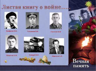 Панфилов И.В. Талалихин В.В. Гастелло Н.Ф. Матросов А.М. Кожедуб И.Н. Маресь