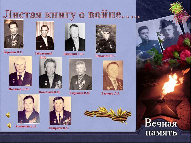 Баранов П.С. Заболотный Н.Д. Никитин Г.Н. Панакин П.С. Поляков И.М. Потетюев...