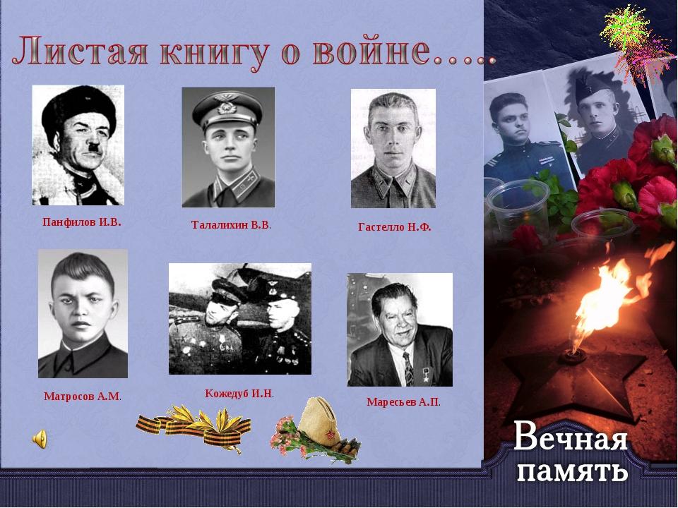 Панфилов И.В. Талалихин В.В. Гастелло Н.Ф. Матросов А.М. Кожедуб И.Н. Маресь...