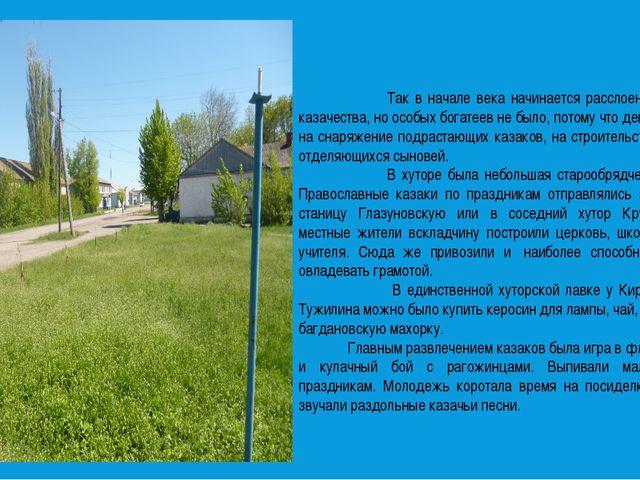 Так в начале века начинается расслоение хуторского казачества, но особых бог...