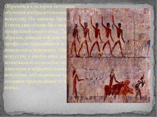Историческая справка Обратимся к истории методики обучения изобразительному и