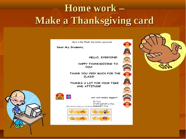Home work – Make a Thanksgiving card