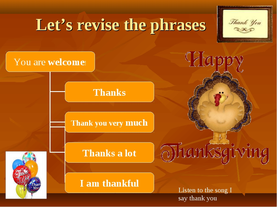 Let's revise the phrases Listen to the song I say thank you