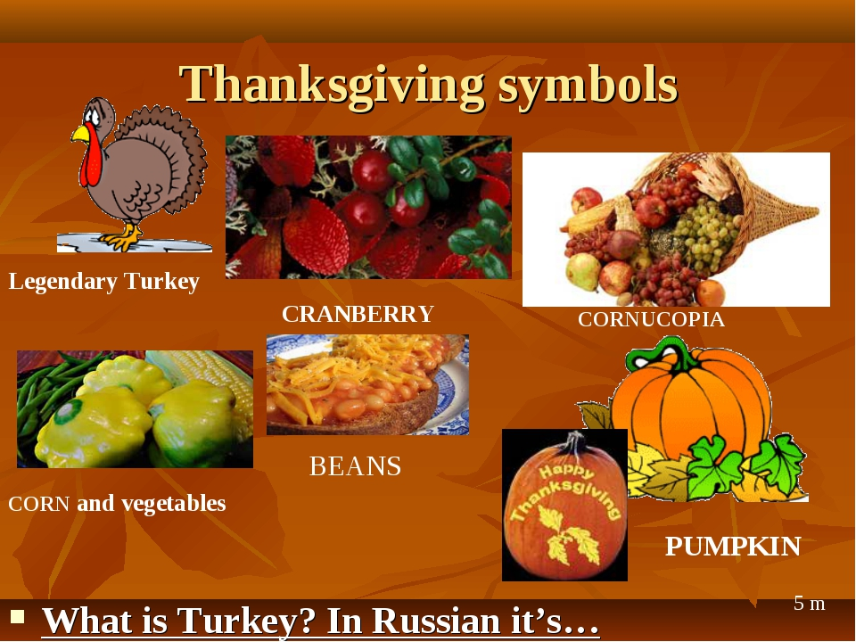 Thanksgiving symbols What is Turkey? In Russian it's… Legendary Turkey CRANBE...