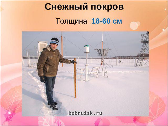 Снежный покров Толщина 18-60 см