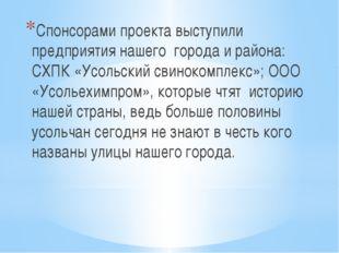 Спонсорами проекта выступили предприятия нашего города и района: СХПК «Усоль
