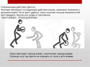 Отвлекающие действия (финты) Финтами маскируют последующие действия игрока, о