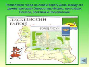Расположен город на левом берегу Дона, между его двумя притоками Хворостань-И
