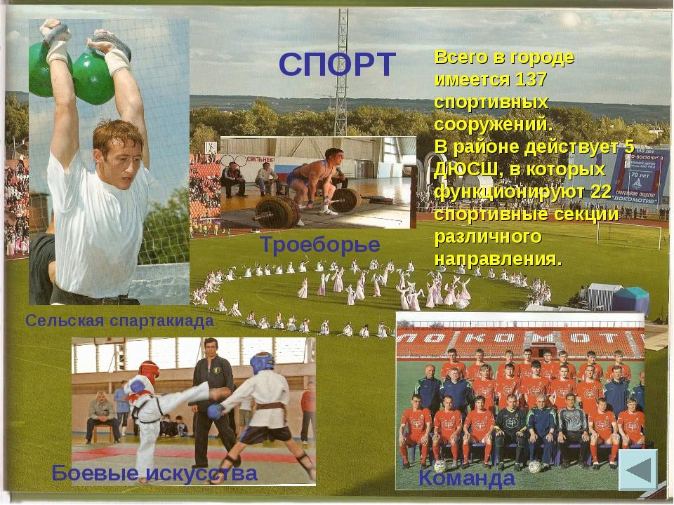 СПОРТ Команда Сельская спартакиада Троеборье Всего в городе имеется 137 спорт...