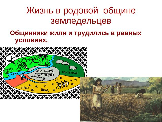 Жизнь в родовой общине земледельцев Общинники жили и трудились в равных услов...