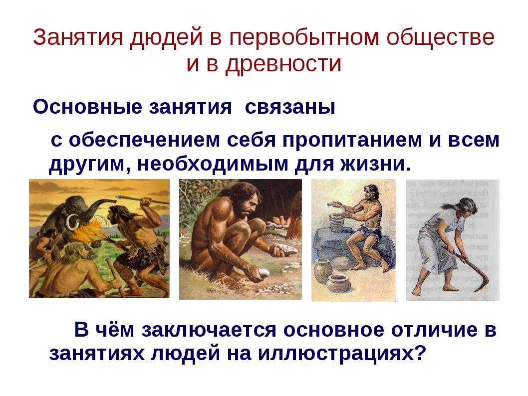 Занятия дюдей в первобытном обществе и в древности Основные занятия связаны с...