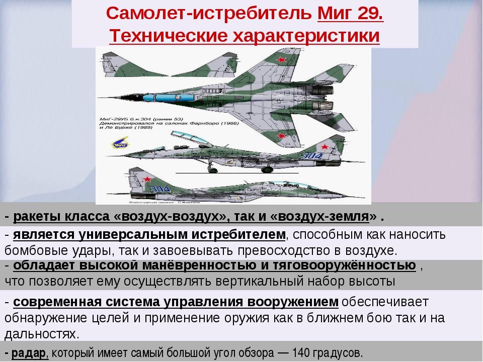 Самолет-истребитель Миг 29. Технические характеристики - обладает высокой ман...