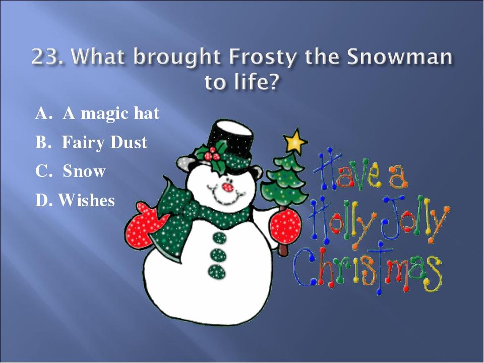 A. A magic hat B. Fairy Dust C. Snow D. Wishes
