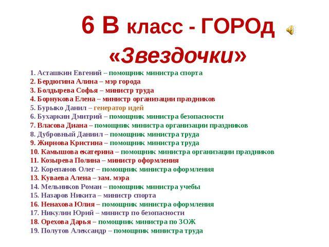6 В класс - ГОРОд «Звездочки» 1. Асташкин Евгений – помощник министра спорта...